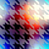 Geometric pattern of Hounds-tooth on blurred background.
