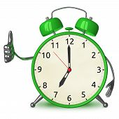 Green Alarm Clock Giving Thumb Up