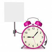 Pink Alarm Clock With Placard