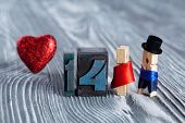 Love Concept. Valentines Day. 14 February. Romantic Couple. Man, Woman And Read Heart. Clothespins.