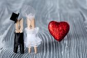 Romantic Couple. Wedding Invitation. Valentines Day. Man, Woman And Read Heart. Groom In Black Suit