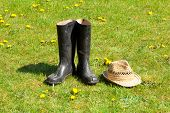 Rubber Boots With Straw On Grass Background.
