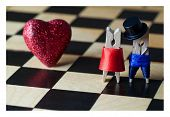Love Concept. Clothespins: Romantic Couple. Wedding. Valentines Day. Man, Woman. Gentleman In Black
