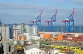 Odessa Cargo Port With Grain Dryers And Colourful Cranes,ukraine,black Sea,europe