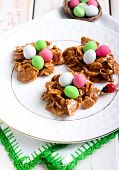 Chocolate And Cornflakes Nests With Candy Eggs