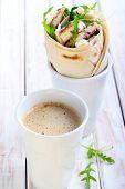 Mug Of Coffee And Wrap Roll