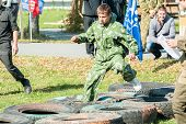 Cadet passes sports stage of relay