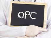 Doctor Shows Information On Blackboard: Opc