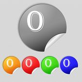 Number Zero Icon Sign. Set Of Coloured Buttons. Vector