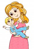 Cartoon Mother With Litle Boy