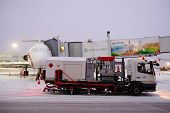 Moscow, Russia, February, 09,2015: de-icing machine at the airport