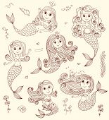 picture of mermaid  - Six cute happy mermaids - JPG