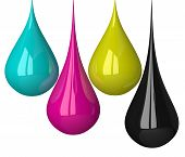 Drops Of Cmyk Colors