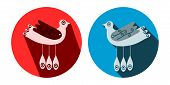 Decorative stylized birds with long shadow in blue and red circle
