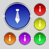 Tie Sign Icon. Business Clothes Symbol. Set Colourful Buttons. Vector