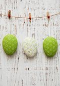 Easter Eggs Hanging On A Line