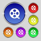 Video Sign Icon. Frame Symbol. Set Colourful Buttons. Vector