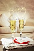 Two glasses of champagne for a celebration