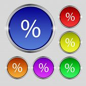Discount Percent Sign Icon. Modern Interface Website Button. Set Colourful Buttons. Vector