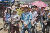People celebrate Lao New Year in Luang Prabang, Laos.