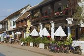 Exterior of the traditional buildings in downtown Luang Prabang in Luang Prabang,