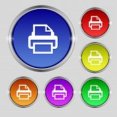 Print Sign Icon. Printing Symbol. Set Colourful Buttons. Vector