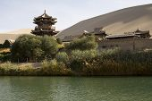 Chinese Temple In Desert, Dunhuang, Mingsha Shan, China