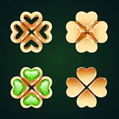 Vector Golden Four-leaf Clovers Set1