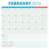 Calendar 2016 Vector Flat Design Template. February. Week Starts Monday