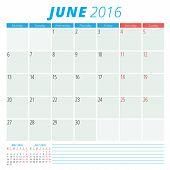 Calendar 2016 Vector Flat Design Template. June. Week Starts Monday