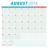 Calendar 2016 Vector Flat Design Template. August. Week Starts Monday