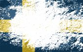 Swedish flag. Grunge background. Vector illustration