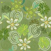 foto of stamen  - an illustration of seamless pattern with lians pestles and stamen chamomiles with leaves dandelions pollen and swirls all in green shades - JPG