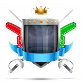 Label for fencing sport club or event. Bright premium design. Vector