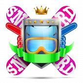 Label for winter sport club or event. Bright premium design. Vector