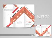 Professional business tri-fold, flyer, template, or brochure with abstract design in front and back page presentation.