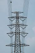 pic of utility pole  - big electricity very high voltage pole and sky - JPG