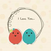 Happy Valentine's Day celebration with colorful eggs and text I Love You in a rounded frame.
