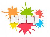 Creative text Holi on color splash background, can be used as poster or banner design.