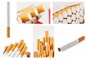 Set of photos with cigarettes