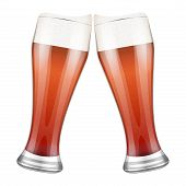 Two red beer glasses clink. Vector Illustration