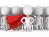 picture of leader  - Brave superhero with red cloak before a crowd - JPG