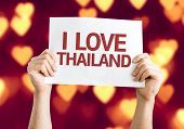 I Love Thailand card with heart bokeh background