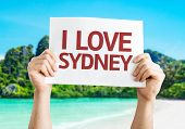 I Love Sydney card with beach background