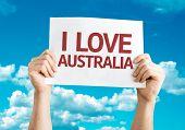 I Love Australia card with sky background