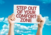 Step Out of Your Comfort Zone card with sky background
