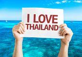 I Love Thailand card with beach background