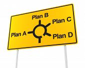Road sign with options for different plans