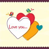 Happy Valentine's Day greeting card with cute love bird couple sitting on colorful hearts and text Love You.