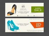 Header for super sale of ladies footwear with name, off percentage and contact details.